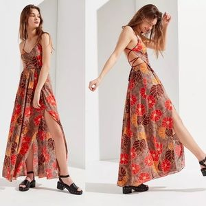 UO Gia Lace Up Maxi Dress Floral